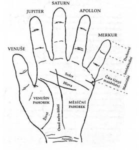 Čítanie z ruky - chiromantia - veštenie z ruky - obrázok s podrobným rozpisom názvov všetkých čiar na dlani
